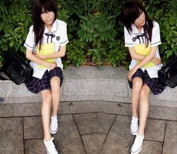 日本女生校服裙与袜子的搭配